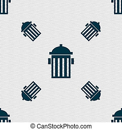 fire hydrant icon sign Seamless pattern with geometric...
