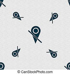 mapa, indicador, icono, signo., Seamless, patrón,...