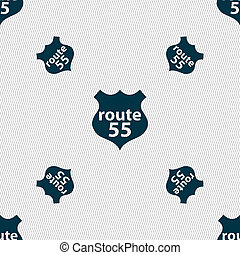 Route 55 highway icon sign. Seamless pattern with geometric texture.