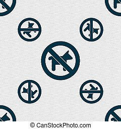 dog walking is prohibited icon sign Seamless pattern with...