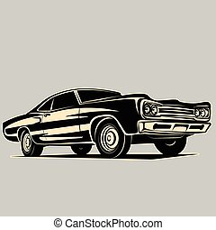 Car muscle 70s vector silhouette - Car muscle vector...