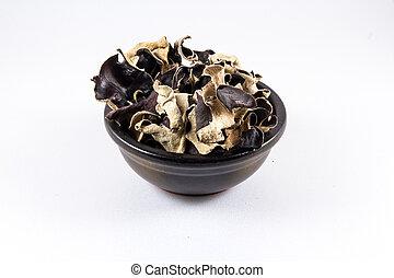 polytricha, chino, hongos, Hongo, también, negro, secado,...