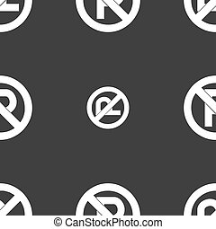 No parking icon sign Seamless pattern on a gray background...