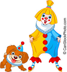 Funny Clown Girl and Clown Dog - Funny clown girl with her...