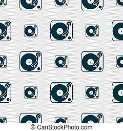 Gramophone, vinyl icon sign. Seamless pattern with geometric...