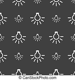 light bulb icon sign. Seamless pattern on a gray background....