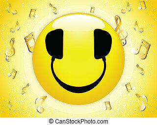 Smiley DJ Background with Music Notes and Stars.