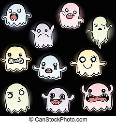 Set of 10 Cute Glowing Ghosts Vector Image