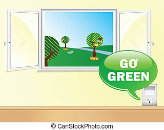 Electric Outlet Saying Go Green with Beautiful Window.