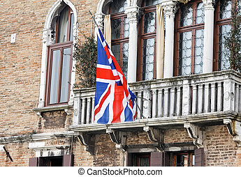 British flag on balcony in Venice