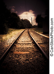 Train Tour Of Darkness With Railway Tracks Leading Off Into...