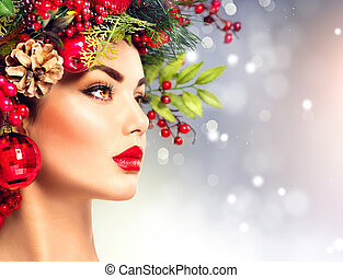Christmas fashion model woman. Holiday hairstyle and makeup
