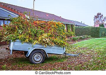 Garden waste in a wagon