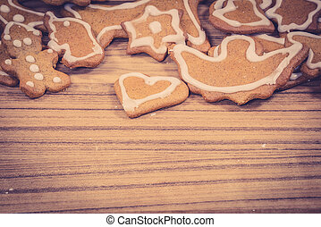 Christmas cookies on a wooden background