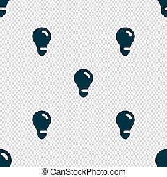 light bulb, idea icon sign Seamless pattern with geometric...