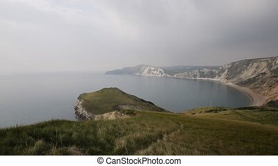 Worbarrow Bay Dorset coast pan - Worbarrow Bay east of...