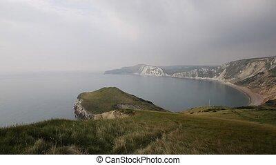 Worbarrow Bay Dorset coast pan - Worbarrow Bay east of...