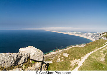 The Chesil Beach, seen from Portland Bill. - Chesil bank...