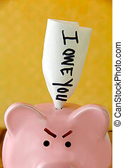 Angry Piggy Bank - Angry piggy bank with an IOU sticking out...