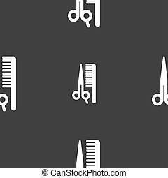hair icon sign Seamless pattern on a gray background...