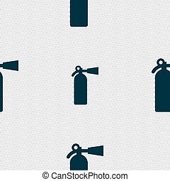 fire extinguisher icon sign Seamless pattern with geometric...