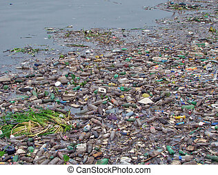 image of a polluted River full of rubbish