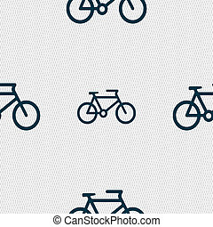 bike icon sign Seamless pattern with geometric texture...