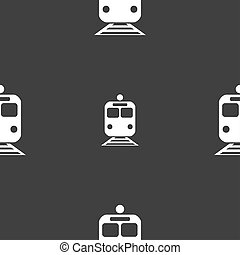 train icon sign Seamless pattern on a gray background...