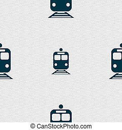 train icon sign. Seamless pattern with geometric texture....