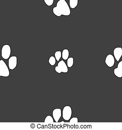 trace dogs icon sign Seamless pattern on a gray background...