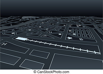 Dark street map - Vector streetmap of a generic city at...
