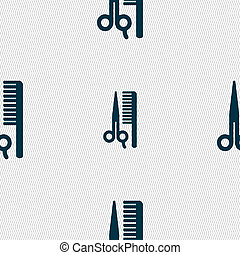 hair icon sign Seamless pattern with geometric texture...