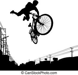 Kid biker - Vector illustration of a boy jumping with his...