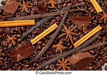 Coffee, chocolate and sweet spices
