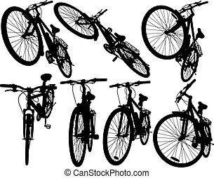 Mountain bikes - Set of detailed vector silhouettes of the...