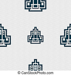 skyscraper icon sign. Seamless pattern with geometric...