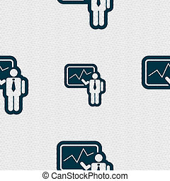 businessman making report icon sign Seamless pattern with...