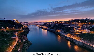 Day to Night view of the historic city of Porto, Portugal...