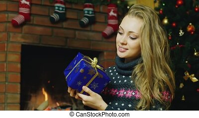 Girl with a Christmas present