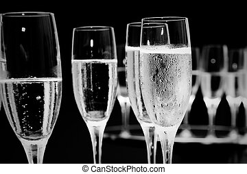 Champagne glasses - black and white champagne glasses at a...