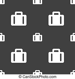 suitcase icon sign Seamless pattern on a gray background...
