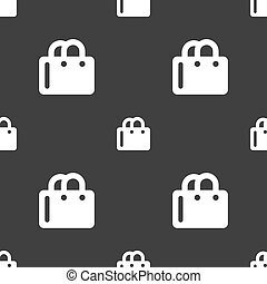 shopping bag icon sign Seamless pattern on a gray background...