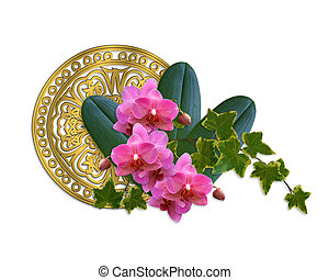 Orchids and ivy artistic design - Image and illustration...