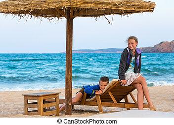 Children on summer beach.
