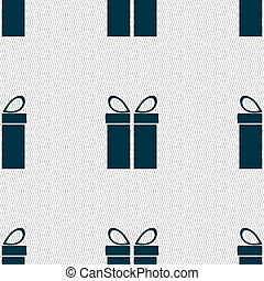 Gift box sign icon. Present symbol. Seamless abstract background with geometric shapes.