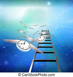 Flying Clocks and Ladder