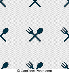 Fork and spoon crosswise, Cutlery, Eat icon sign Seamless...