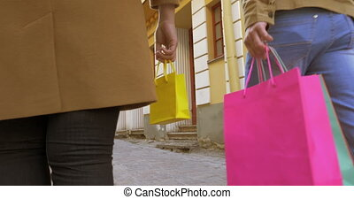 Rear View Of Couple In Holiday Shopping With Shopping Bags -...