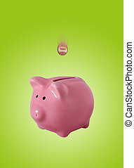 Piggybank isolated on white with clipping path