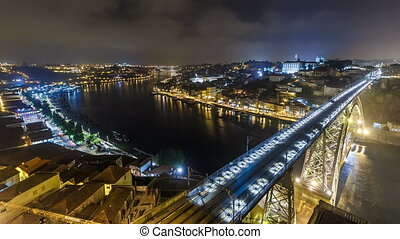 Night view of the historic city of Porto, Portugal timelapse with the Dom Luiz bridge